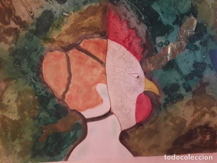 Arte: Magnifico cuadro técnica mixta mujer con máscara de ave firmado 1990 - Foto 3 - 139476966