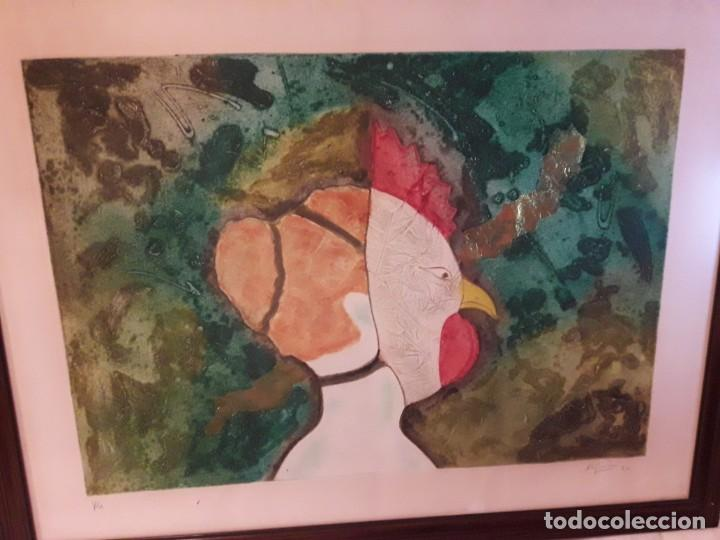 Arte: Magnifico cuadro técnica mixta mujer con máscara de ave firmado 1990 - Foto 5 - 139476966