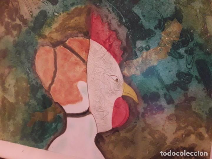 Arte: Magnifico cuadro técnica mixta mujer con máscara de ave firmado 1990 - Foto 6 - 139476966