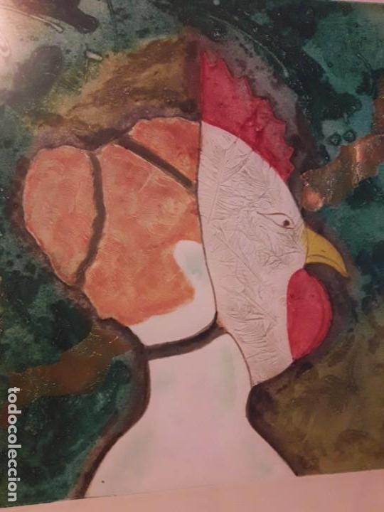 Arte: Magnifico cuadro técnica mixta mujer con máscara de ave firmado 1990 - Foto 8 - 139476966