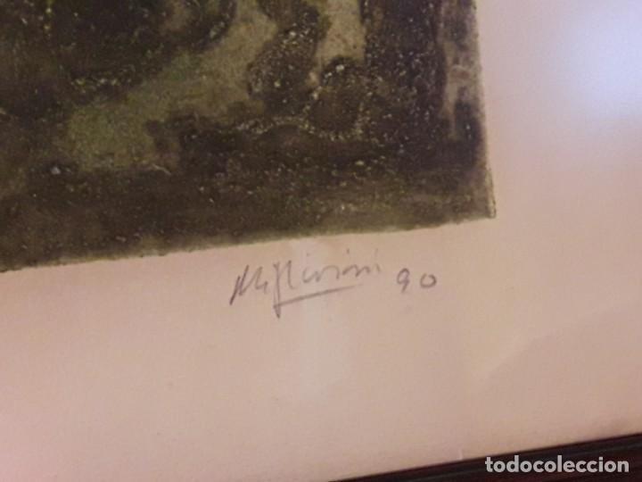 Arte: Magnifico cuadro técnica mixta mujer con máscara de ave firmado 1990 - Foto 10 - 139476966