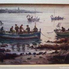 Arte: MARINA DE PESCADORES POR RAMON CASTELLS Y SOLEY. Lote 140177525