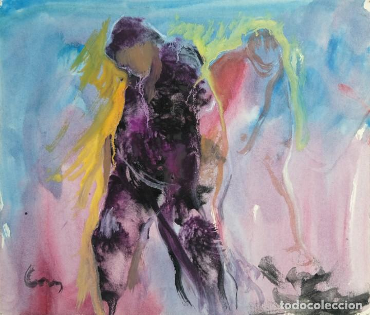 ACUARELA Y GOUACHE SOBRE PAPEL FIGURAS FIRMA ILEGIBLE TERCER TERCIO SIGLO XX (Arte - Acuarelas - Contemporáneas siglo XX)