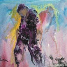 Arte: ACUARELA Y GOUACHE SOBRE PAPEL FIGURAS FIRMA ILEGIBLE TERCER TERCIO SIGLO XX. Lote 140493434