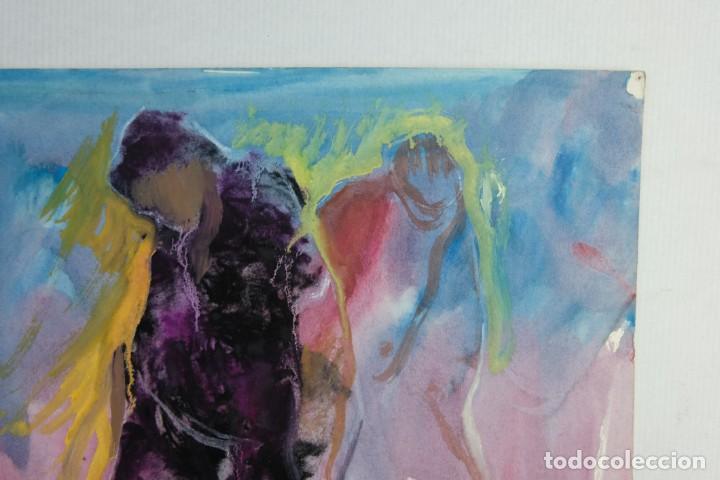 Arte: Acuarela y gouache sobre papel Figuras firma ilegible tercer tercio siglo XX - Foto 4 - 140493434