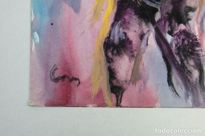 Arte: Acuarela y gouache sobre papel Figuras firma ilegible tercer tercio siglo XX - Foto 7 - 140493434