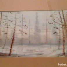 Arte: ACUARELA PINOS, DE VICENTE LEZAMA, 1988. ENMARCADO. Lote 140628370