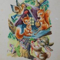 Arte: DIBUJO ORIGINAL - CUENTO INFANTIL: NIÑOS CON ANIMALES - 2/11. Lote 140682366