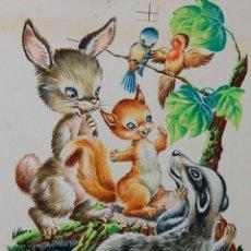 Arte: ILUSTRACIÓN ORIGINAL - CUENTO INFANTIL: NIÑOS CON ANIMALES - 4/11. Lote 140684142