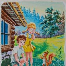 Arte: ILUSTRACIÓN ORIGINAL - CUENTO INFANTIL: NIÑOS CON ANIMALES - 9/11. Lote 140688298