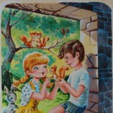 Arte: ILUSTRACIÓN ORIGINAL - CUENTO INFANTIL: NIÑOS CON ANIMALES - 10/11. Lote 140688922