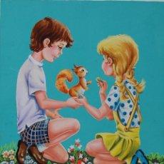 Arte: ILUSTRACIÓN ORIGINAL - CUENTO INFANTIL: NIÑOS CON ANIMALES - 11/11. Lote 140689518