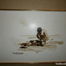 Arte: HOMBRE EN LA PLAYA - RICARDO TORRENTE - ACUARELA SOBRE PAPEL.. Lote 140700962