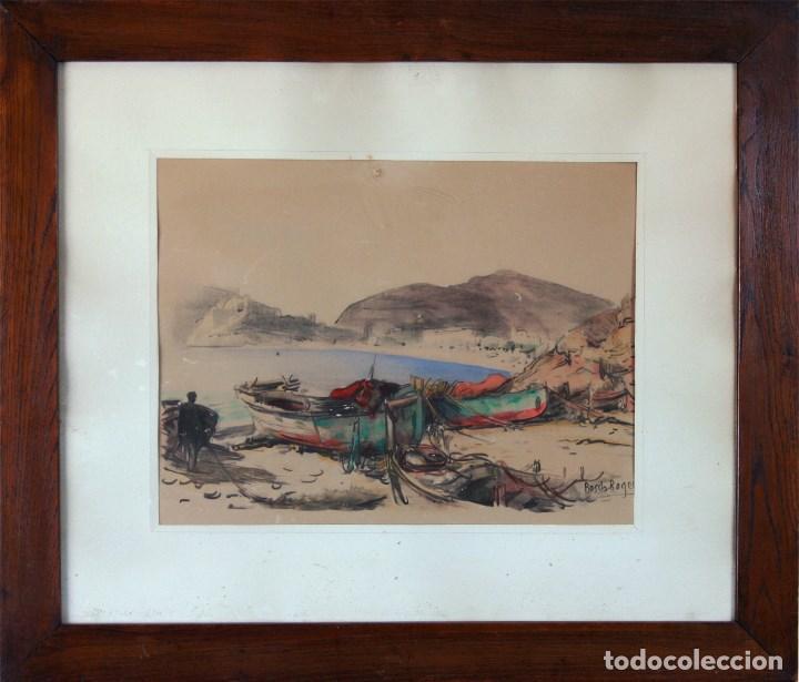 BARCELONA. EMILIO BOSCH ROGER. BARCELONA 1894-1980. BARCAS EN EL PUERTO (Arte - Acuarelas - Modernas siglo XIX)