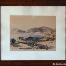Arte: BARCELONA. EMILIO BOSCH ROGER. BARCELONA 1894-1980. BARCAS EN EL PUERTO. Lote 140723874