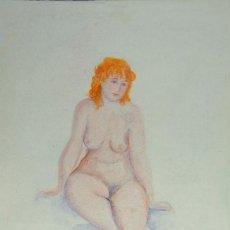 Arte: ACUARELA SOBRE PAPEL DESNUDO FEMENINO FIRMADO AMIRA 1971. Lote 140766738