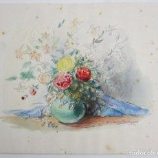 Arte: JARRÓN DE FLORES, ACUARELA, 1942, FIRMA ILEGIBLE. 37X30,5CM. Lote 140838622