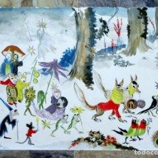 Arte: JOSÉ ZAMORA - ACUARELA - AÑO 1961 - FELICITACIÓN NAVIDEÑA -. Lote 140905454