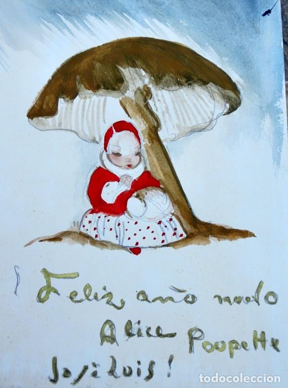 Arte: JOSÉ ZAMORA - ACUARELA - AÑO 1961 - FELICITACIÓN NAVIDEÑA - - Foto 2 - 140905454
