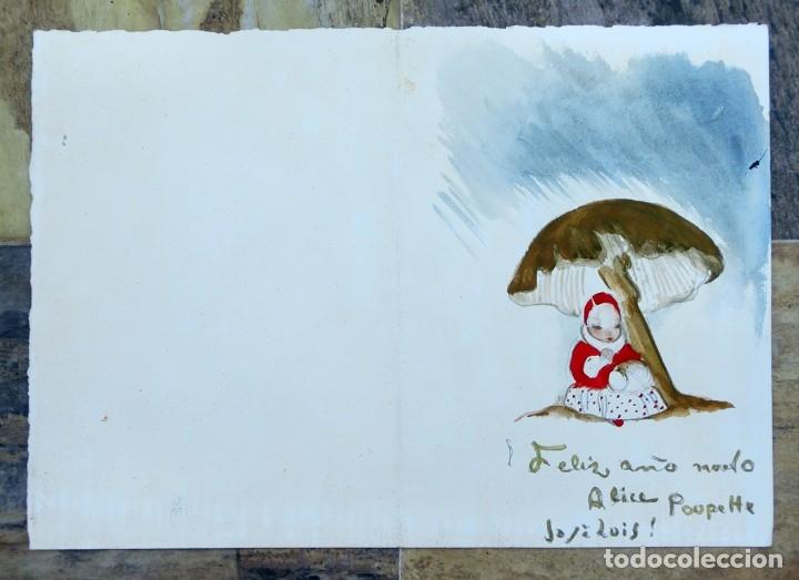 Arte: JOSÉ ZAMORA - ACUARELA - AÑO 1961 - FELICITACIÓN NAVIDEÑA - - Foto 5 - 140905454
