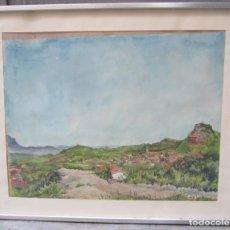 Arte: ACUARELA, PAISAJE PUEBLO, CON DEDICATORIA, ENMARCADO, FIRMADO ALEX RIBÓ. 77X53CM. Lote 141287130