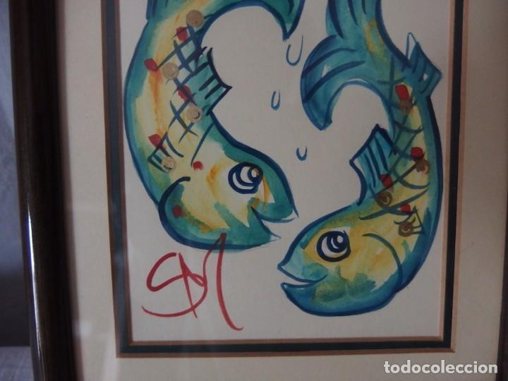 Arte: CUADRO, ACUARELA SIGNO PISCIS - Foto 2 - 141366542