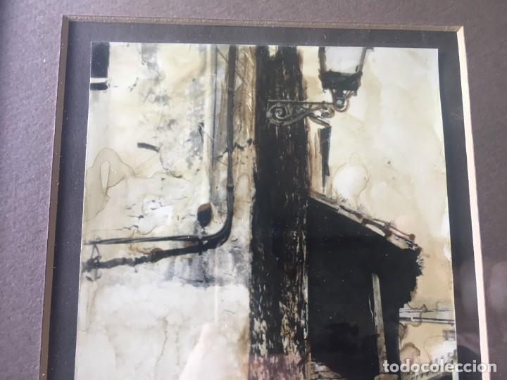 Arte: ESCALERA Y GATO, MAGNIFICA ACUARELA PEQUEÑO TAMAÑO FIRMADA Y ENMARCADA - Foto 2 - 141676478