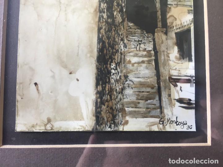 Arte: ESCALERA Y GATO, MAGNIFICA ACUARELA PEQUEÑO TAMAÑO FIRMADA Y ENMARCADA - Foto 3 - 141676478