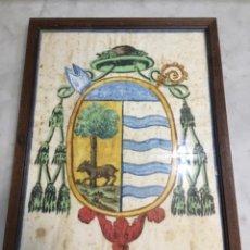Arte: (M) ANTIGUO ESCUDO HERÁLDICO PINTADO CON PINTURA AL AGUA ORIGINAL NO IMPRESO ENMARCADO 36,5X26,5 CM.. Lote 141685550