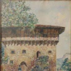 Arte: MANUEL RUIZ MORALES. GRANADA 1857-1922. PAISAJE CON ALDEANOS. ACUARELA 55 X 38 CM.. Lote 141726926