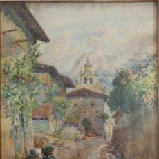 Arte: MANUEL RUIZ MORALES. GRANADA 1857-1922. PAISAJE CON ALDEANOS. ACUARELA 55 X 38 CM. . Lote 141727238