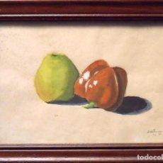 Arte: SINTO FAURA. ACUARELA SOBRE PAPEL. BODEGÓN. PIMIENTO Y MANZANA. FIRMADO A MANO. 1943.. Lote 141789258