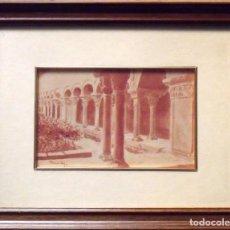 Arte: SINTO FAURA. ACUARELA SOBRE PAPEL CLAUSTRO ROMÁNICO. FIRMADA A MANO. 1910.. Lote 141789670