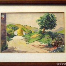Arte: SINTO FAURA. ACUARELA SOBRE PAPEL. PAISAJE CON CASA Y PAJAR. FIRMADO A MANO. 1910.. Lote 141790130