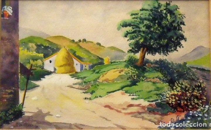 Arte: Sinto Faura. Acuarela sobre papel. Paisaje con casa y pajar. Firmado a mano. 1910. - Foto 2 - 141790130