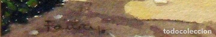 Arte: Sinto Faura. Acuarela sobre papel. Paisaje con casa y pajar. Firmado a mano. 1910. - Foto 4 - 141790130