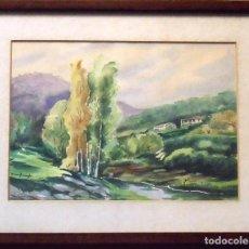 Arte: SINTO FAURA. ACUARELA SOBRE PAPEL PAISAJE CON RÍO Y CASAS. 1910. FIRMADO A MANO.. Lote 141791530