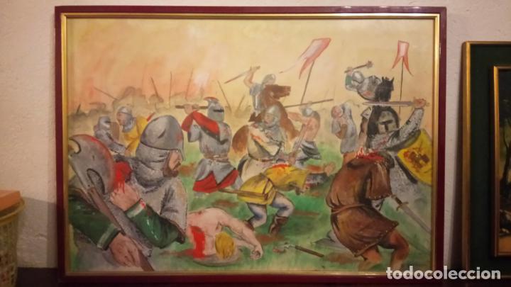 PINTURA EN ACUARELA DE BATALLA, GUERRA MEDIEVAL CUADRO GRANDE DE SALA DE ESTAR U COMEDOR (Arte - Acuarelas - Contemporáneas siglo XX)