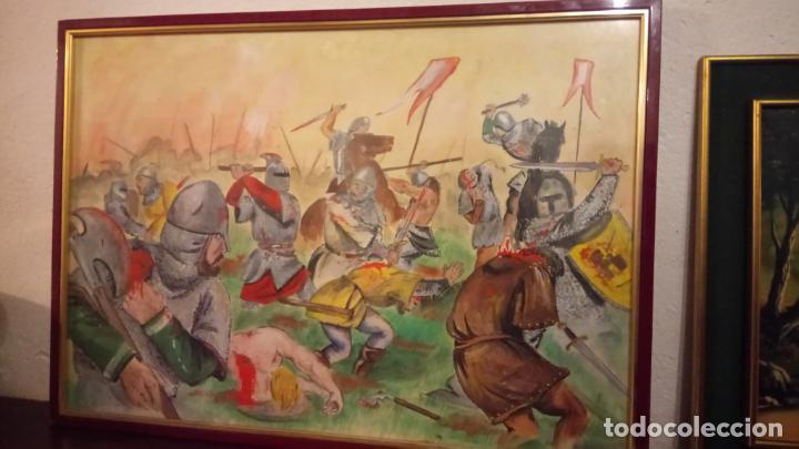 Arte: Pintura en acuarela de batalla, guerra medieval cuadro grande de sala de estar u comedor - Foto 2 - 142067546