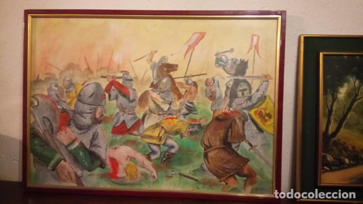 Arte: Pintura en acuarela de batalla, guerra medieval cuadro grande de sala de estar u comedor - Foto 7 - 142067546