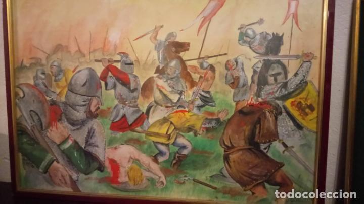 Arte: Pintura en acuarela de batalla, guerra medieval cuadro grande de sala de estar u comedor - Foto 8 - 142067546