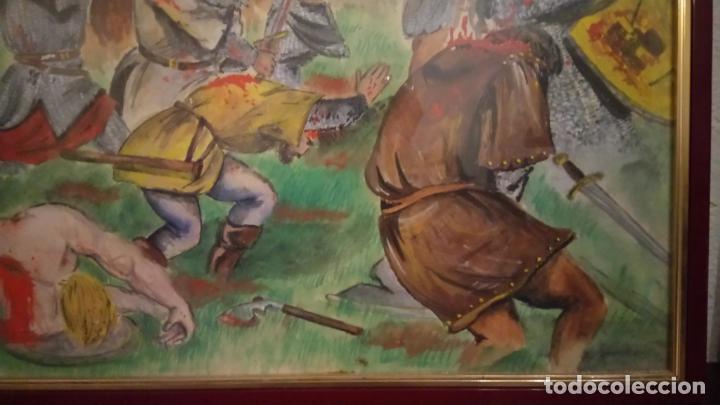 Arte: Pintura en acuarela de batalla, guerra medieval cuadro grande de sala de estar u comedor - Foto 9 - 142067546