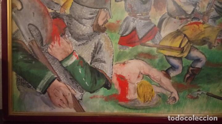 Arte: Pintura en acuarela de batalla, guerra medieval cuadro grande de sala de estar u comedor - Foto 10 - 142067546