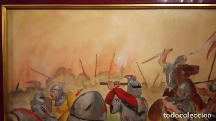 Arte: Pintura en acuarela de batalla, guerra medieval cuadro grande de sala de estar u comedor - Foto 11 - 142067546
