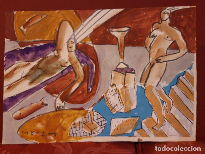 JORGE CABEZAS TOME CORUÑA ORIGINAL TECNICA MIXTA (Arte - Acuarelas - Contemporáneas siglo XX)