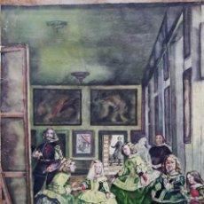 Arte: DIBUJO ORIGINAL ACUARELA HOMENAJE LAS MENINAS DE VELAZQUEZ - VELAZCOF EL TIGRE - 1952 - 39X47 CMTS. Lote 142224406