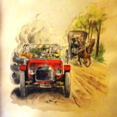 Arte: CARRERAS COCHES. ACUARELA ORIGINAL .RAMON PEINADOR CHECA, FECHADO AÑO 1961. Lote 138741186