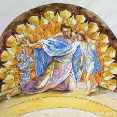 Arte: SAN JOSÉ Y EL NIÑO JESÚS. ACUARELA SOBRE PAPEL. ATRIB. GORGUES. ESPAÑA. CIRCA 1950. Lote 142566386