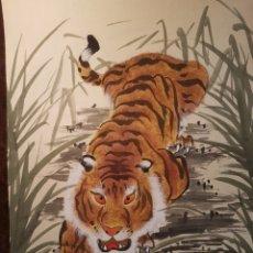 Arte: ESCUELA CHINA HUNAN ,TIGRE (TINTA CHINA SOBRE SEDA) AÑOS 50-60. Lote 142751381