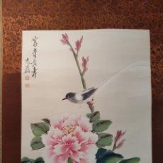 Arte: ESCUELA CHINA (HUNAN) AÑOS 60 ,PÁJARO (TINTA CHINA SOBRE SEDA) 46 X 34 '5. Lote 142767942